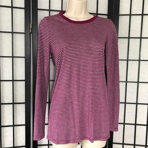 Splendid Pink & Grey Stripe Long Sleeve Shirt